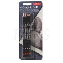 Lapices de Grafito Derwent Graphic Soft blister x 4