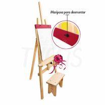 Atril para niños infantil Seurat con banco y rotafolio + 3 telas para pintar