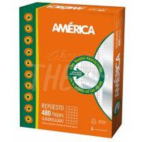 Repuesto escolar America 400 hojas Cuadriculado