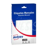 Etiquetas autoadhesivas multiuso blancas Avery  25 x  25 mm 600 etiq. (A3006)