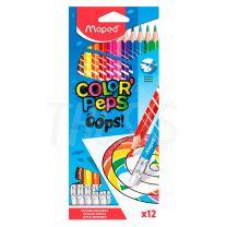 lápices de color Maped Color Peps x 12. Lápices de colores borrables.
