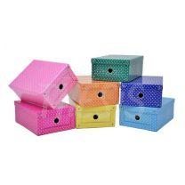 Caja carton corrugado color con remaches lunares mediana Les cahiers